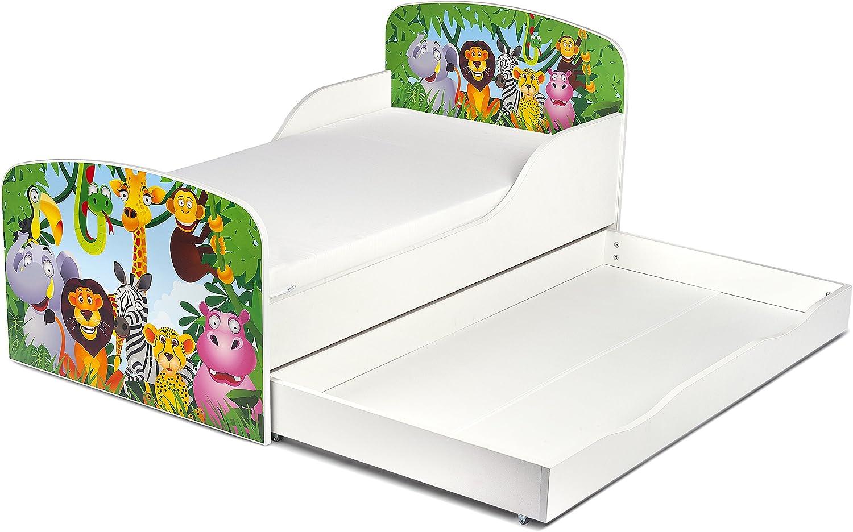 Leomark Cama Infantil Completa de Madera - Animales Zoo - Marco de Cama, Colchón, Somier, cajón, Blanco Muebles para Niños, Moderno Dormitorio, ...