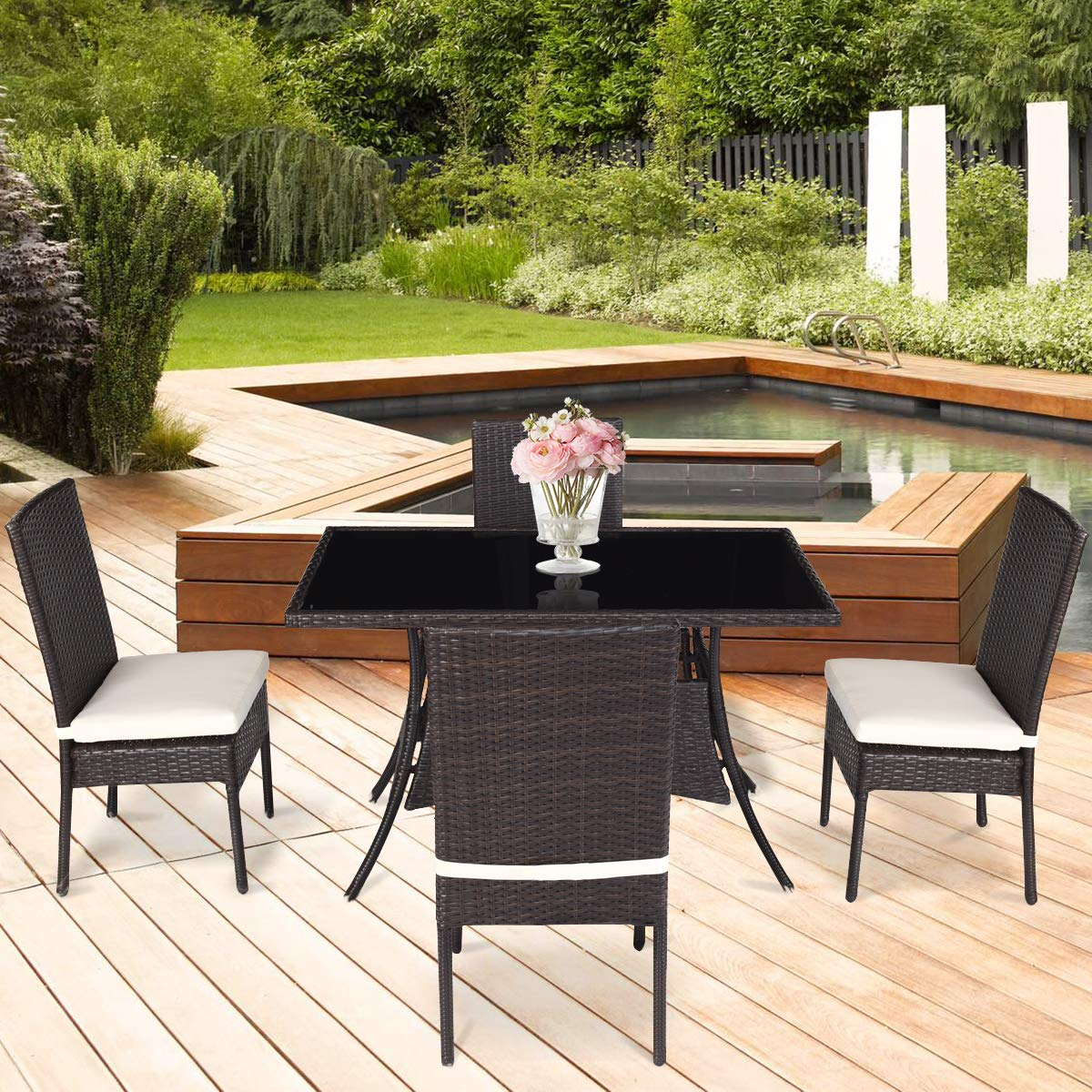 Tangkula Patio Furniture, 5 PCS All Weather Resistant Heavy Duty Wicker Dining Set with Chairs, Perfect for Balcony Patio Garden Poolside, 5 Piece Wicker Table and Chairs Set by Tangkula (Image #4)