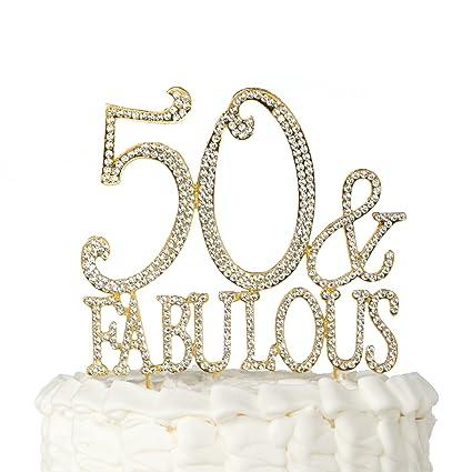 Amazoncom Ella Celebration 50 Fabulous Cake Topper Gold for 50th