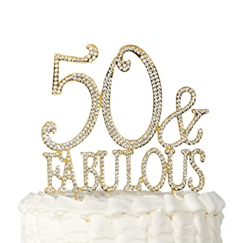 Amazoncom 50 Fabulous Cake Topper Gold for 50th Birthday Party