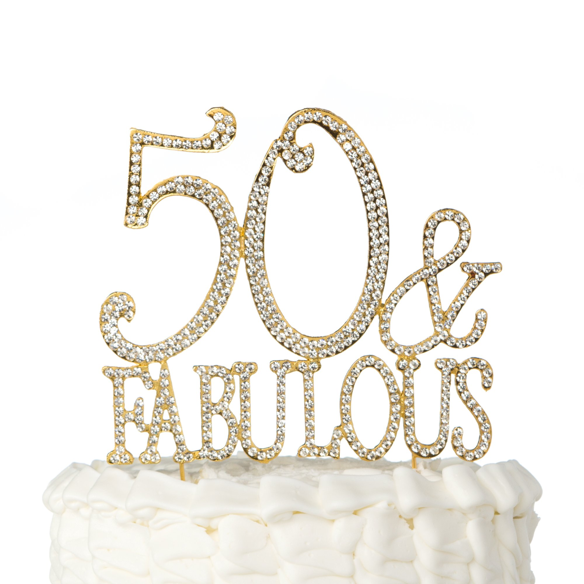 50 And Fabulous Cake Topper Gold For 50th Birthday Party Decoration