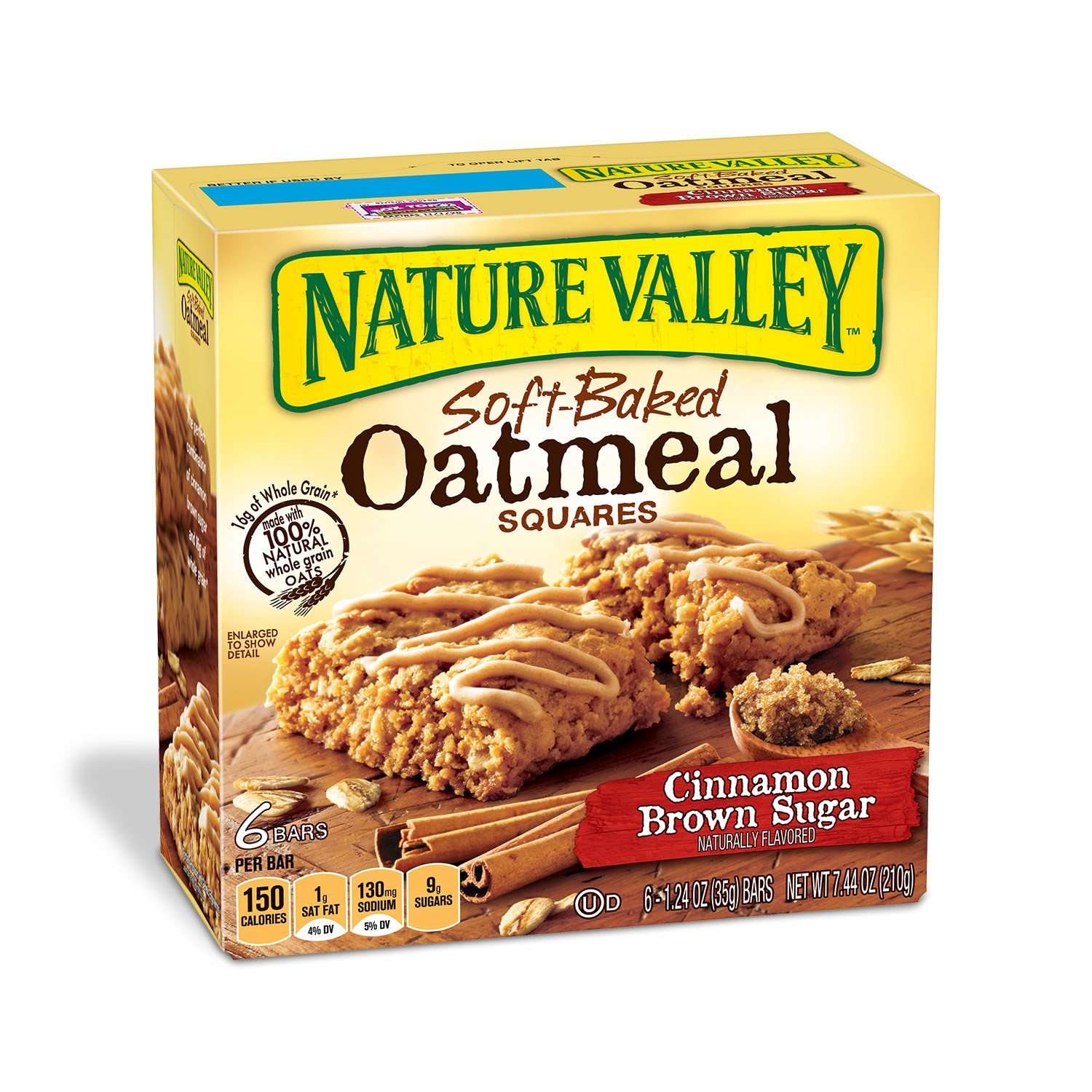 Nature Valley Soft-Baked Oatmeal Squares, Cinnamon Brown Sugar, 12 Bars - 1.2 oz (Pack of 6)
