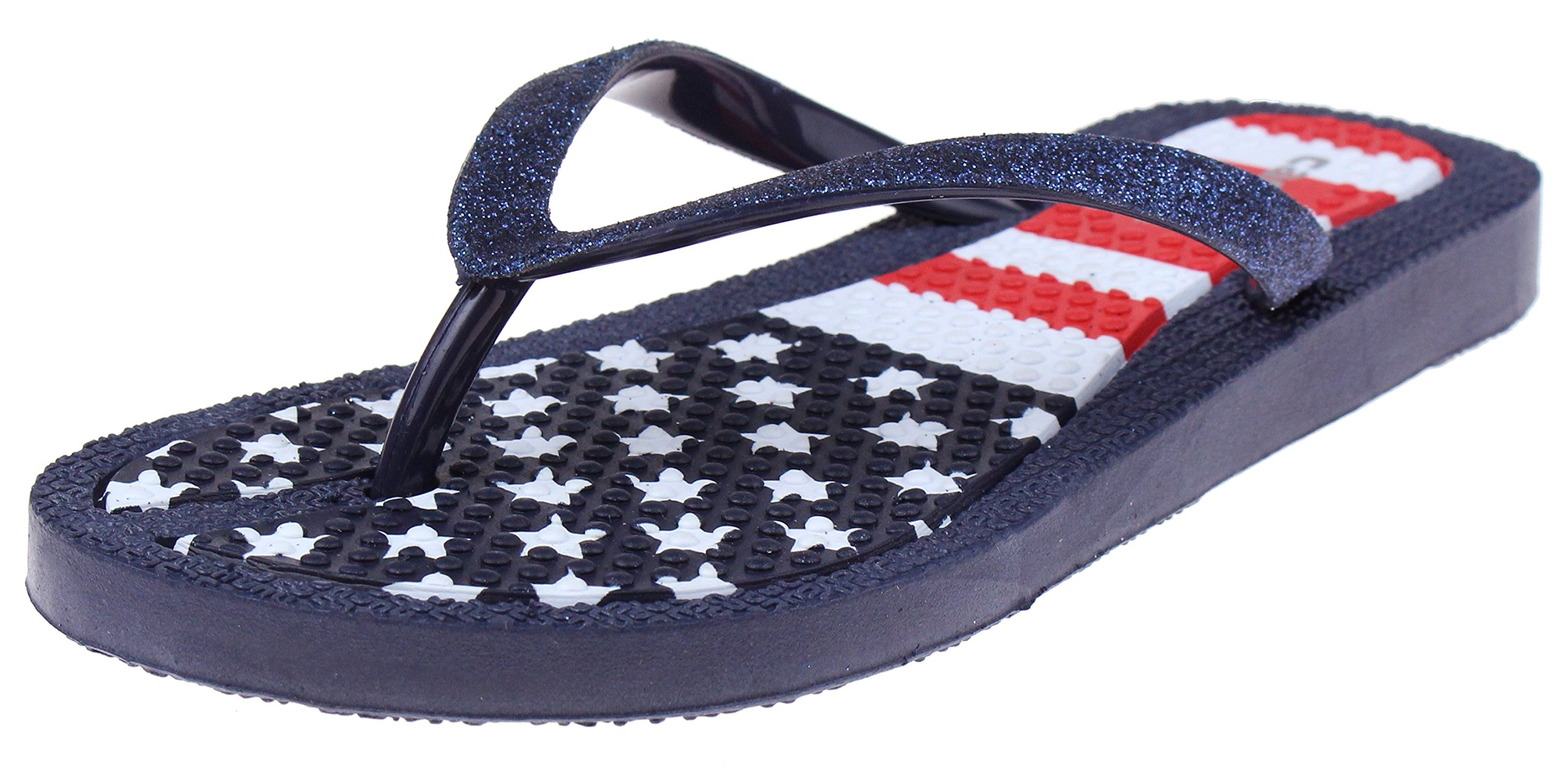 Capelli New York Girls Fashion Flip Flops with American Flag Print Navy Combo 1/2