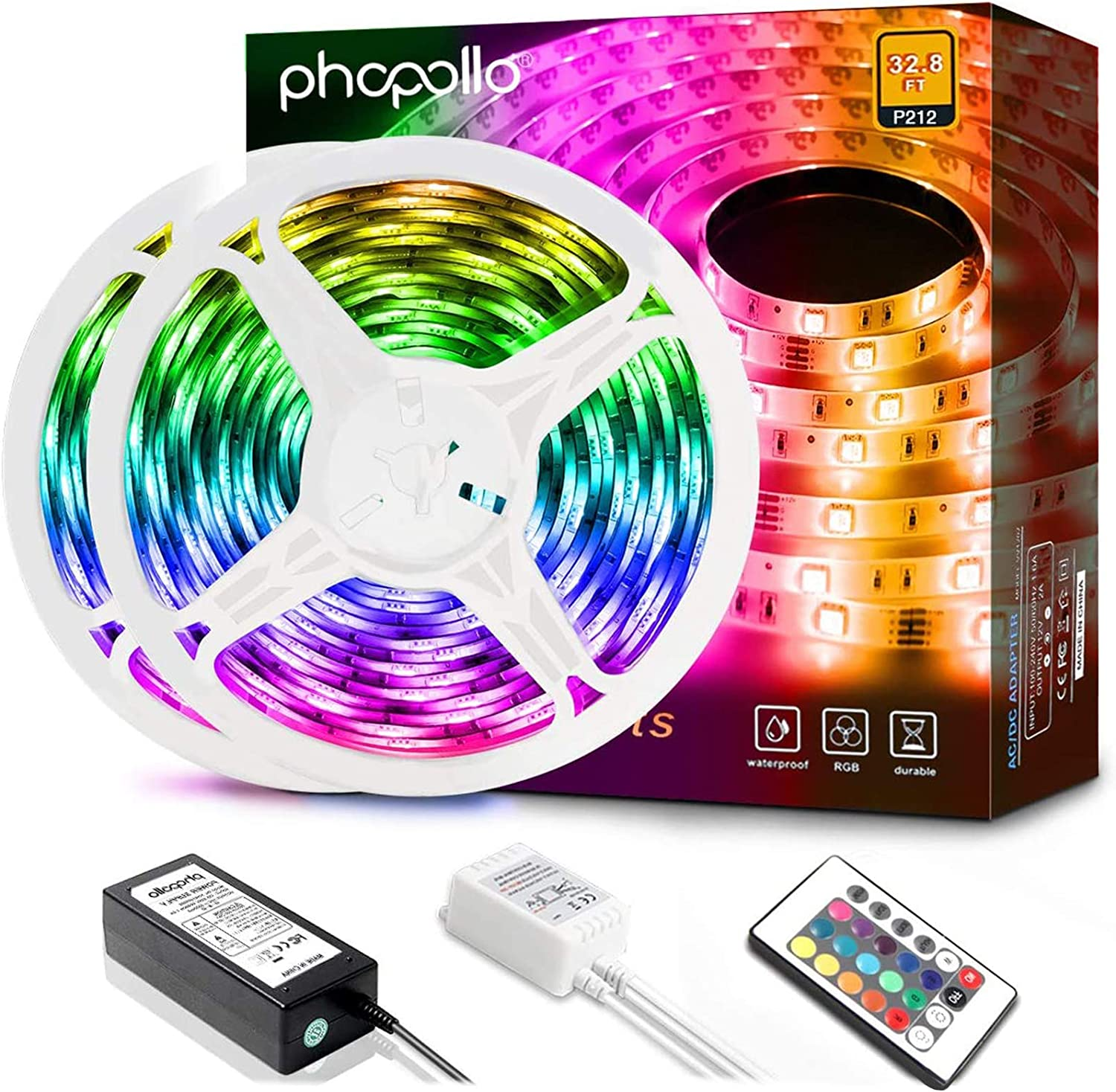 Phopollo Led Strip Lights, 32.8ft 600 LEDs Waterproof Flexible LED Lights with 24 Keys IR Remote Controller and 12V Power Supply for Bedroom House and Home Decoration