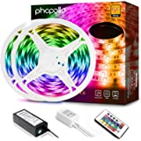 Phopollo Led Strip Lights, 32.8ft 600 LEDs Waterproof Flexible LED Lights with 24 Keys IR Remote Controller and 12V…