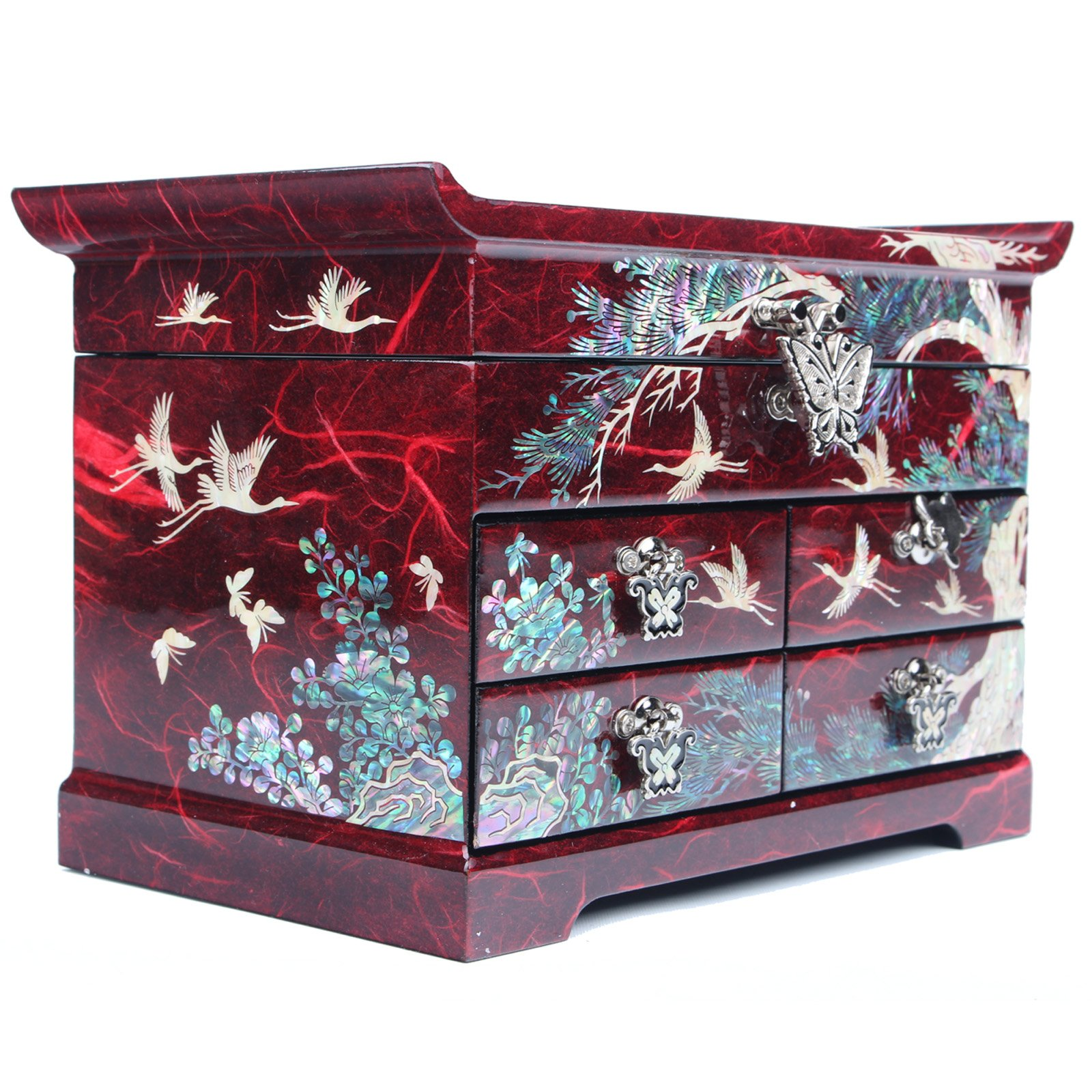 Jewelry Boxes Women Jewelry Organizer Box Gift 4 Drawers Mother Of Pearl Crane Made Korea HJD402 Red