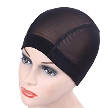 c648d1fd59e 6 pcs lot Black Dome Cornrow Wig Caps Easy Sew in Hair Stretchable Weaving  Cap