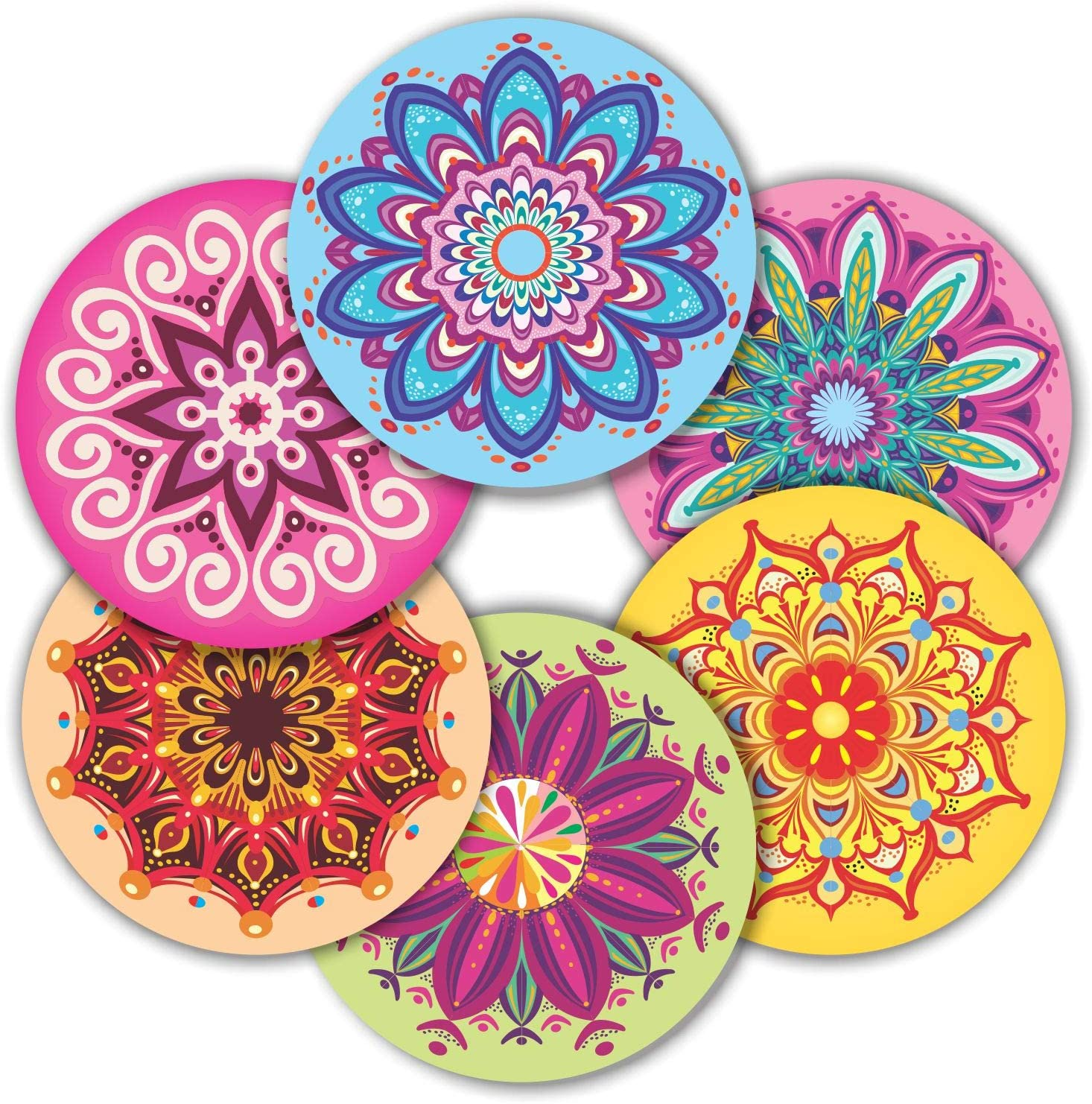 "Mandala Stickers Seals Labels - (Pack of 120) 2"" Large Round Decals for Wall Laptop Water Bottles Holiday Greeting Cards Gift Envelopes Boxes"