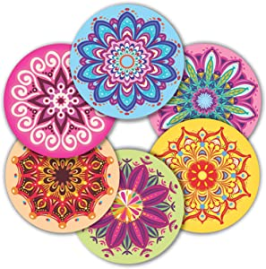 """Mandala Stickers Seals Labels - (Pack of 120) 2"""" Large Round Decals for Wall Laptop Water Bottles Holiday Greeting Cards Gift Envelopes Boxes"""