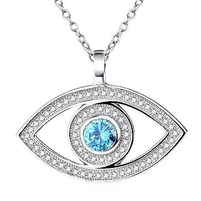 Bleu Mauvais œil , Pendentif de Protection Collier Femmes Argent 925/1000 ,  avec Oxyde