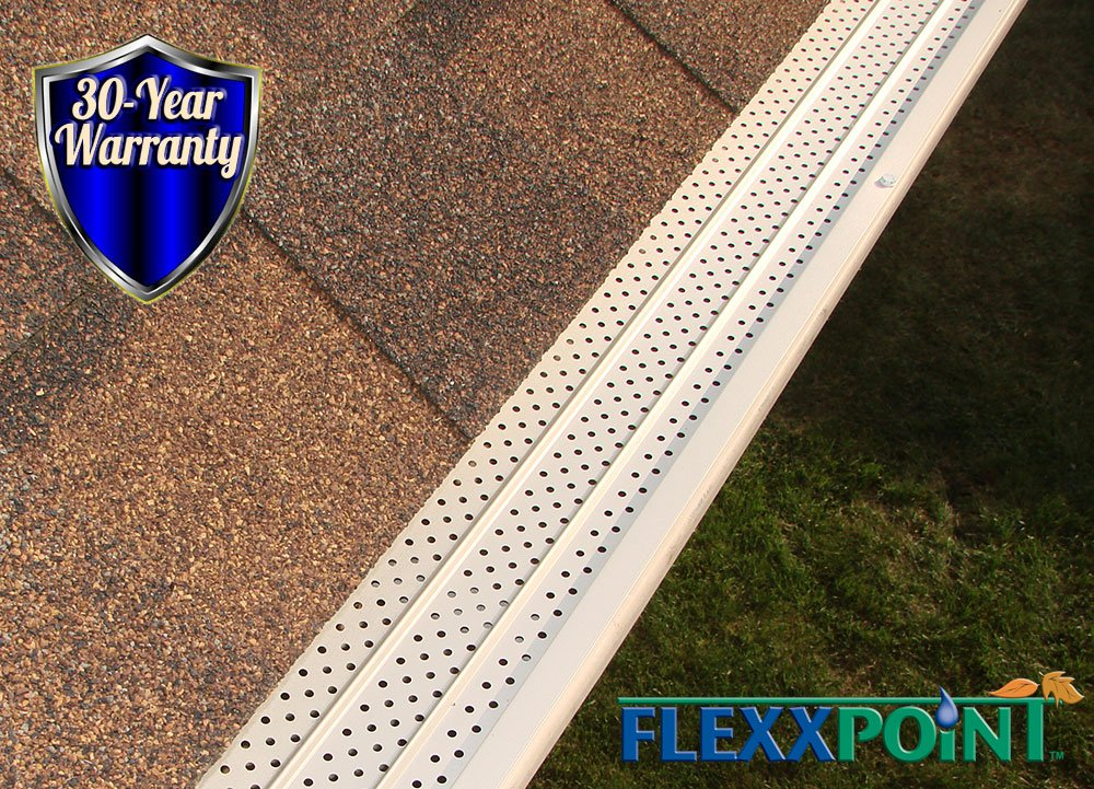FlexxPoint 30 Year Gutter Cover System- White Commercial 6'' Aluminum Gutter Guards, Stainless Steel Fasteners- 100Ft.