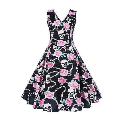 4688ad96d87e0 Amazon.com  Londony Hot Women s 1950s Butterfly Floral Vintage Dresses  Audrey Hepburn Style Party Dresses (❤️E-Black