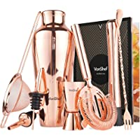 VonShef Cocktail Shaker Set Parisian 9 Piece in Gift Box with Recipe Guide & Accessories