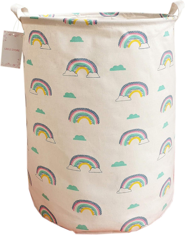 LEELI Laundry Hamper with Handles-Collapsible Canvas Basket for Storage Bin,Kids Room,Home Organizer,Nursery Storage,Baby Hamper,19.7×15.7 (Rainbow)