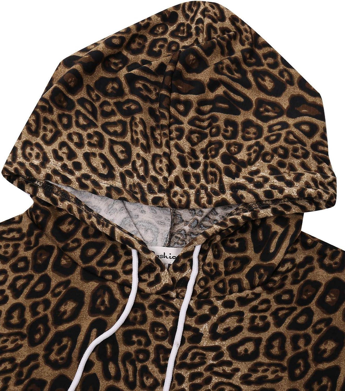 ABYOXI Damen Leopard Hoodie Kleid Langarm Pullover Kleid Kapuzenkleid Pulli Sweatshirtkleid Jumper