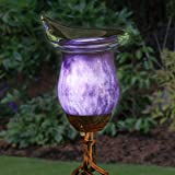 Exhart Purple Calla Lily Yard Stake w/Metal Finials – Solar Calla Lily w/LED Lights, Calla Lily Flower Outdoor Decor Lights,