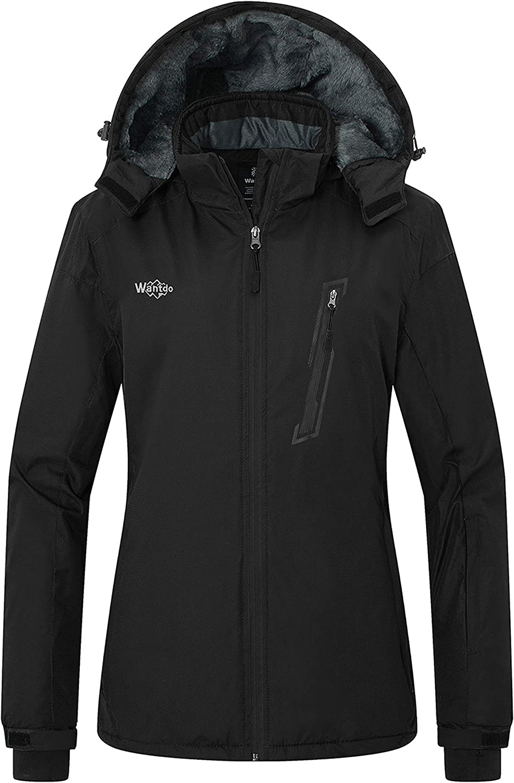 Wantdo Women's Waterproof Ski Fleece Jacket Windproof Raincoats Snow Coat