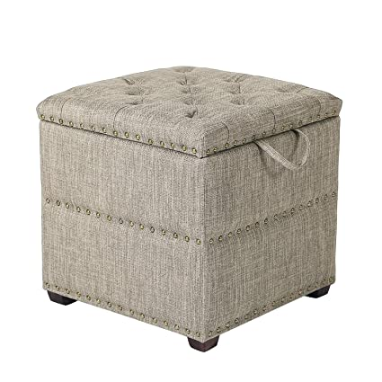 Groovy Elegan Fabric Square Storage Ottoman With Tray Light Brown Grey Gmtry Best Dining Table And Chair Ideas Images Gmtryco