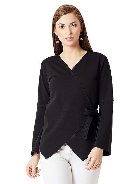 df652b4aad92f4 Miss Chase Women s Plain Regular fit Top (MCAW18TP12-01-62-02 Black X-