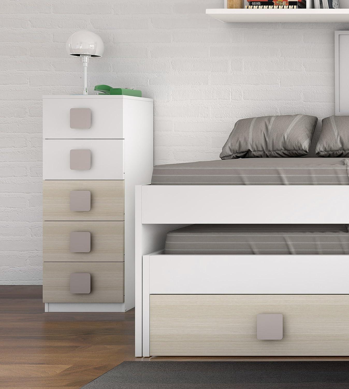Sinfonier cómoda de 5 cajones blanco y haya para dormitorio juvenil ...