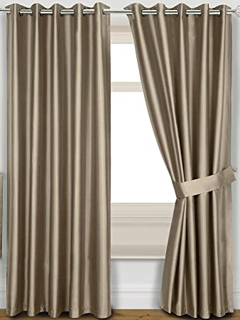 Faux Silk Blackout Thermal Eyelet Curtains with Tie-backs [Single ...