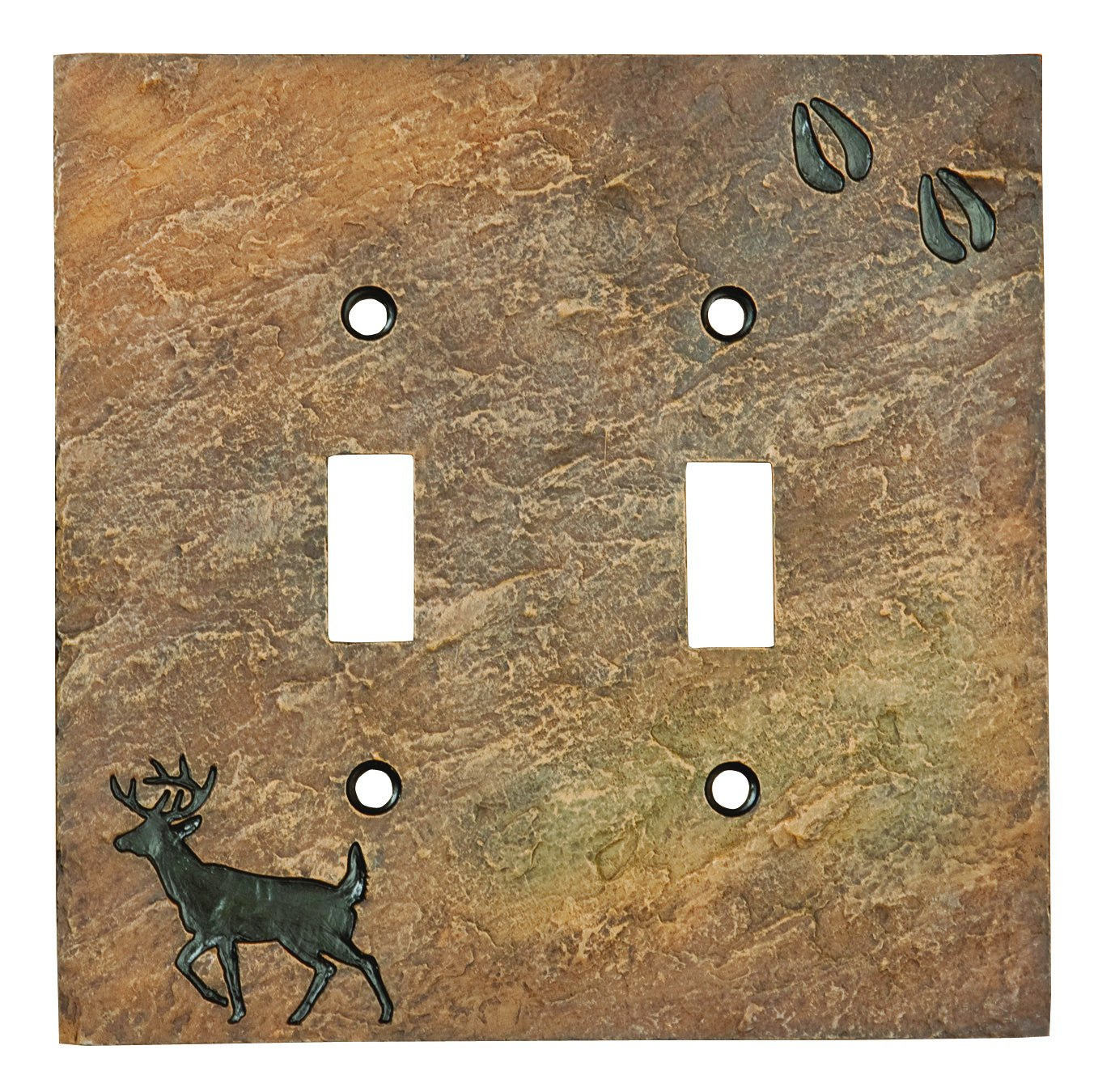 Big Sky Carvers B5050109 Deer with Tracks Double Switch Plate