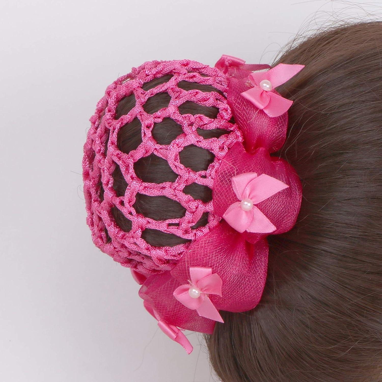 Girls Small Knotted Ribbon Bun Hair Net 8cm Dancewear Ballet Bridal Accessories
