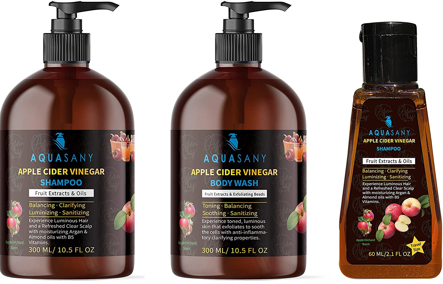 3-Pack Apple Cider Vinegar Shampoo & Exfoliating Body Wash Set with Travel Bottle, Fuller Shinier Hair & Healthier Scalp with Antioxidant Anti-Inflammatory Soothing Herbal Clarifying Extracts, Argan & Almond Hydrating Oils, B5 Vitamins, Sanitizing Oregano Oil, Apple Orchard Scents