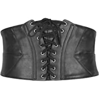 BlackButterfly Wide Corset Waspie Elastic Waist Faux Leather Belt