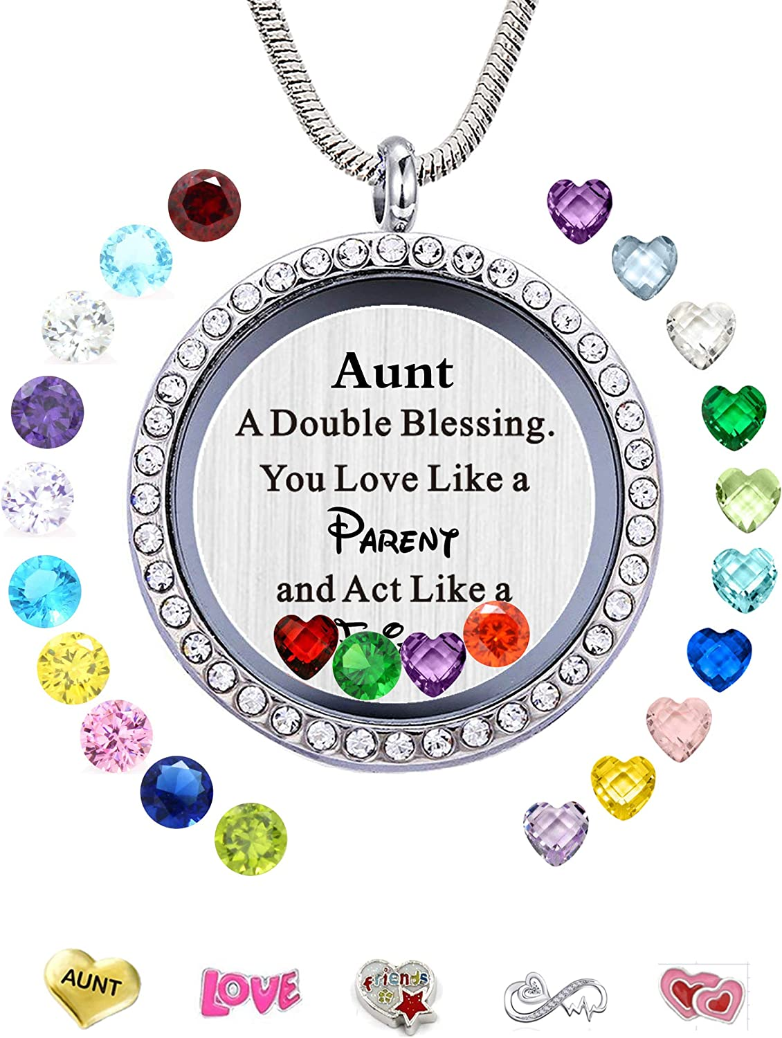 beffy Best Gifts for Niece Aunt, Floating Living Memory Locket Necklace Pendant with Charm & Birthstone for Women, Girls & Teen Girl