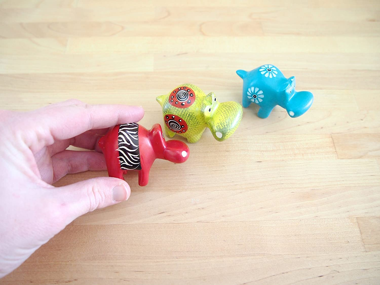 Assorted Colors Set of 3 African Soapstone Little Hippo Trio Made in Kenya