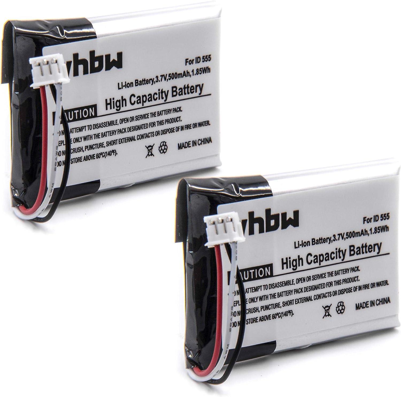 vhbw 2X baterías de 500mAh (3.7V) para teléfono inalámbrico Philips ID 555, 5551B, 5552B y 5-2762, 5-2770, SL-422943.