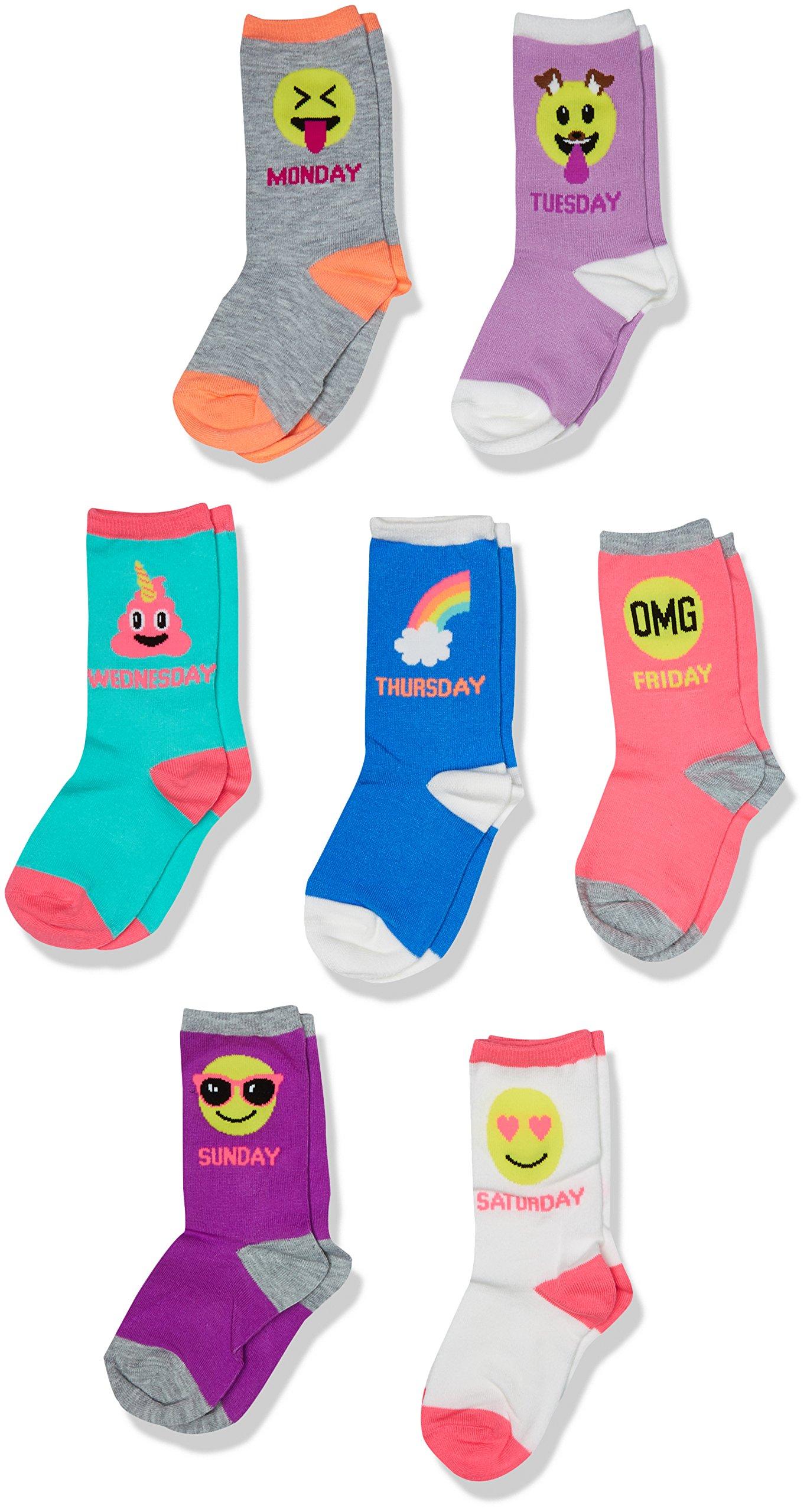 The Children's Place Toddler Girls' Crew Socks (Pack of 7), Multi, L 3-6
