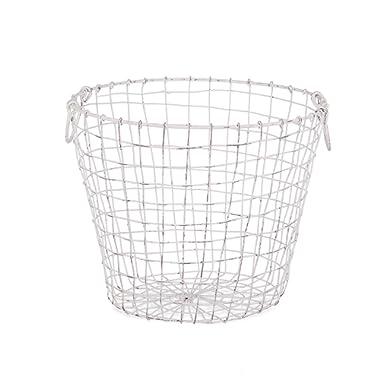 Skalny 84627WHT 14 Dx11.75  White Round Wire Storage Basket