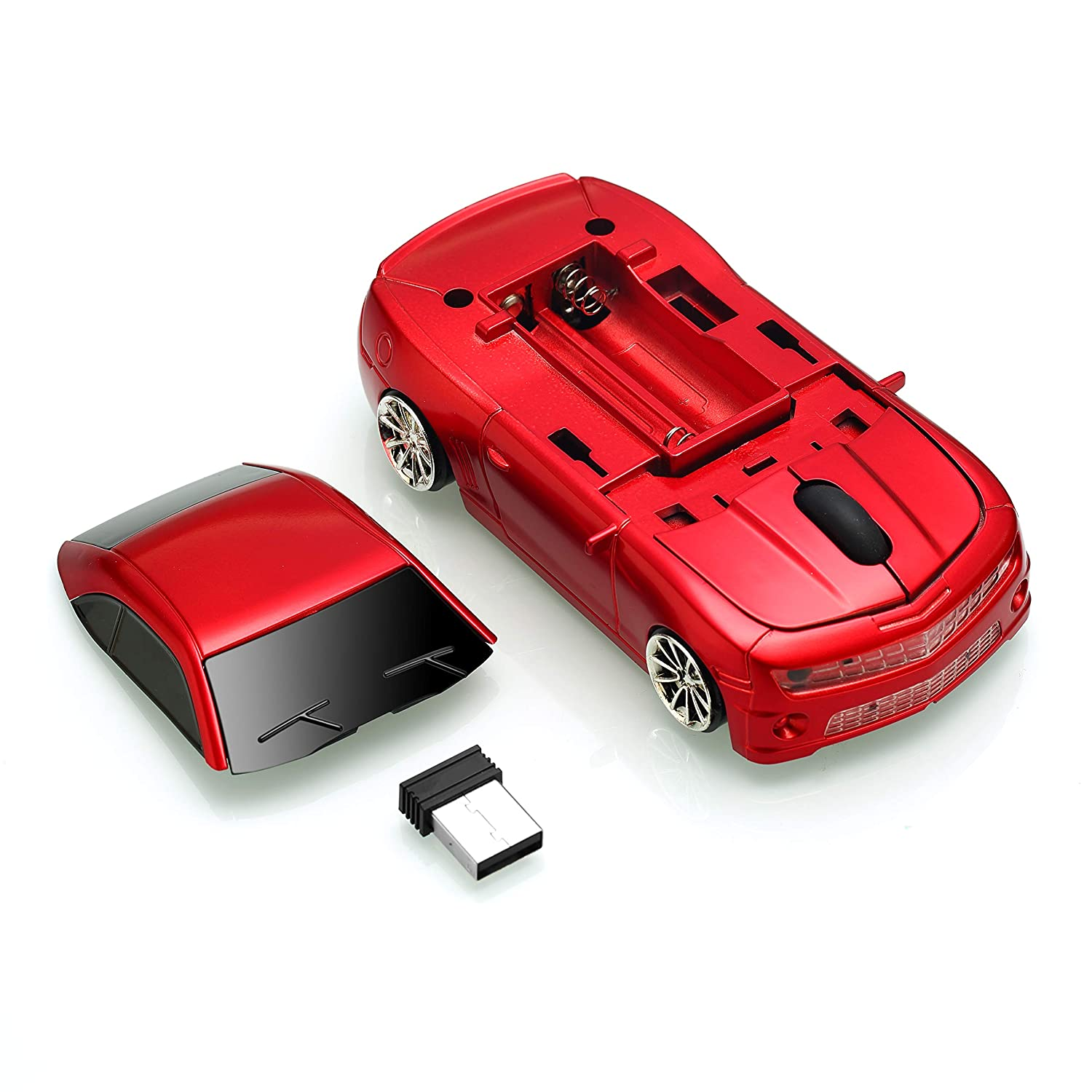 BKLNOG Wireless Car Mouse Updated with LED Headlights, 1600 DPI Sports Car Shaped Mouse for Mac, Computers, Red