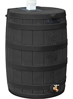 Rain Barrel Black Stand 50-Gal Polyethylene Flat Back Heavy Duty Barrel Stand