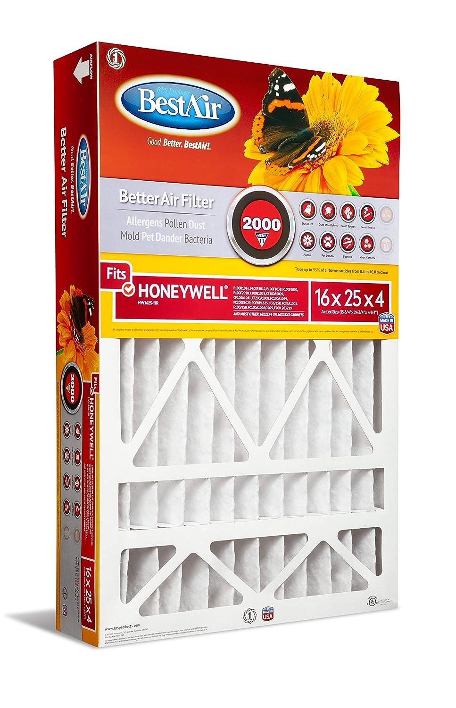 """BestAir HW1625-11R Furnace Filter, 16"""" x 25"""" x 4"""", Honeywell Replacement, MERV 11"""