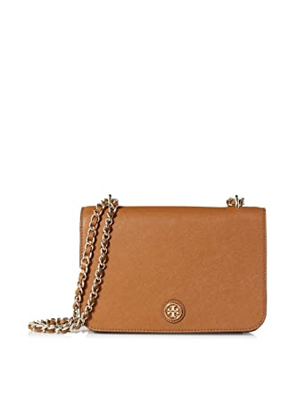 Tory Burch Robinson Adjustable Shoulder Bag in Tigers Eye Saffiano Leather