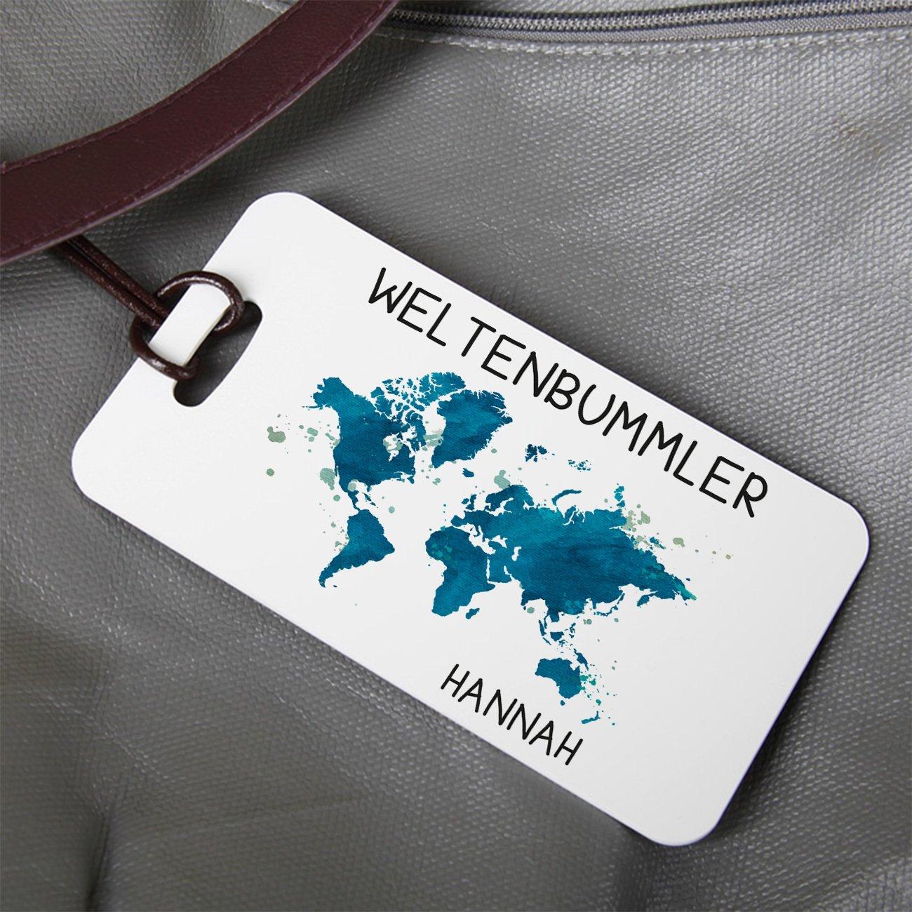 mit Namensaufdruck Weltenbummler Herz /& Heim/® Kofferanh/änger