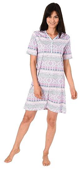Damen Nachthemd kurzarm mit Block Streifen auch in Übergrössen bis 60//62