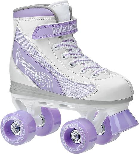 size 2 Details about  /Roller Derby Firestar girl/'s white w//lavender roller skates