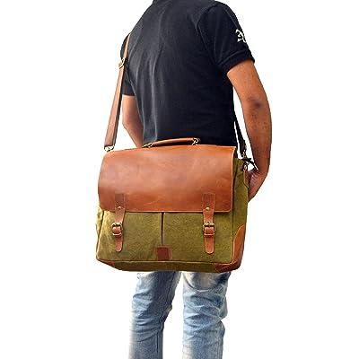 "Laptop Messenger & Briefcase 17.3"" Bag, Office Bag for Men/Womens Shoulder Bag fit for Macbook/Dell/Hp/Lenovo/Acer/Asus Laptop (17.3 inch, Army Green)"