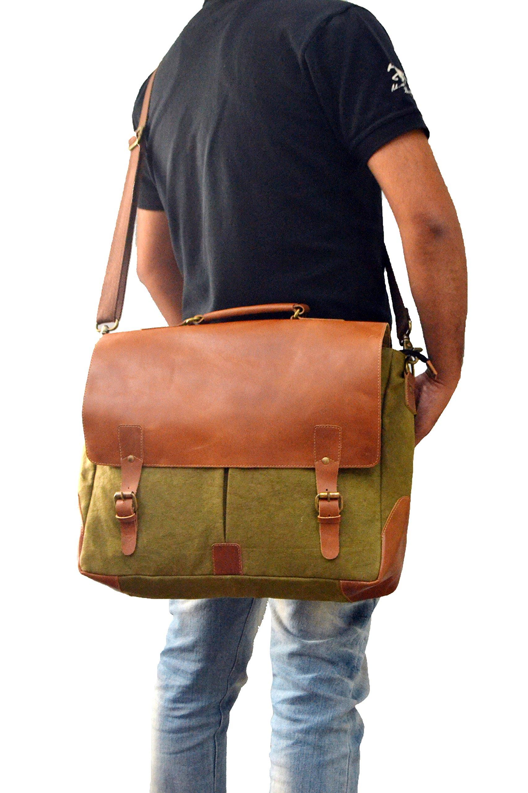 Laptop Messenger & Briefcase 17.3'' Bag, Office Bag for Men/Womens Shoulder Bag fit for Macbook/Dell/Hp/Lenovo/Acer/Asus Laptop (17.3 inch, Army Green)