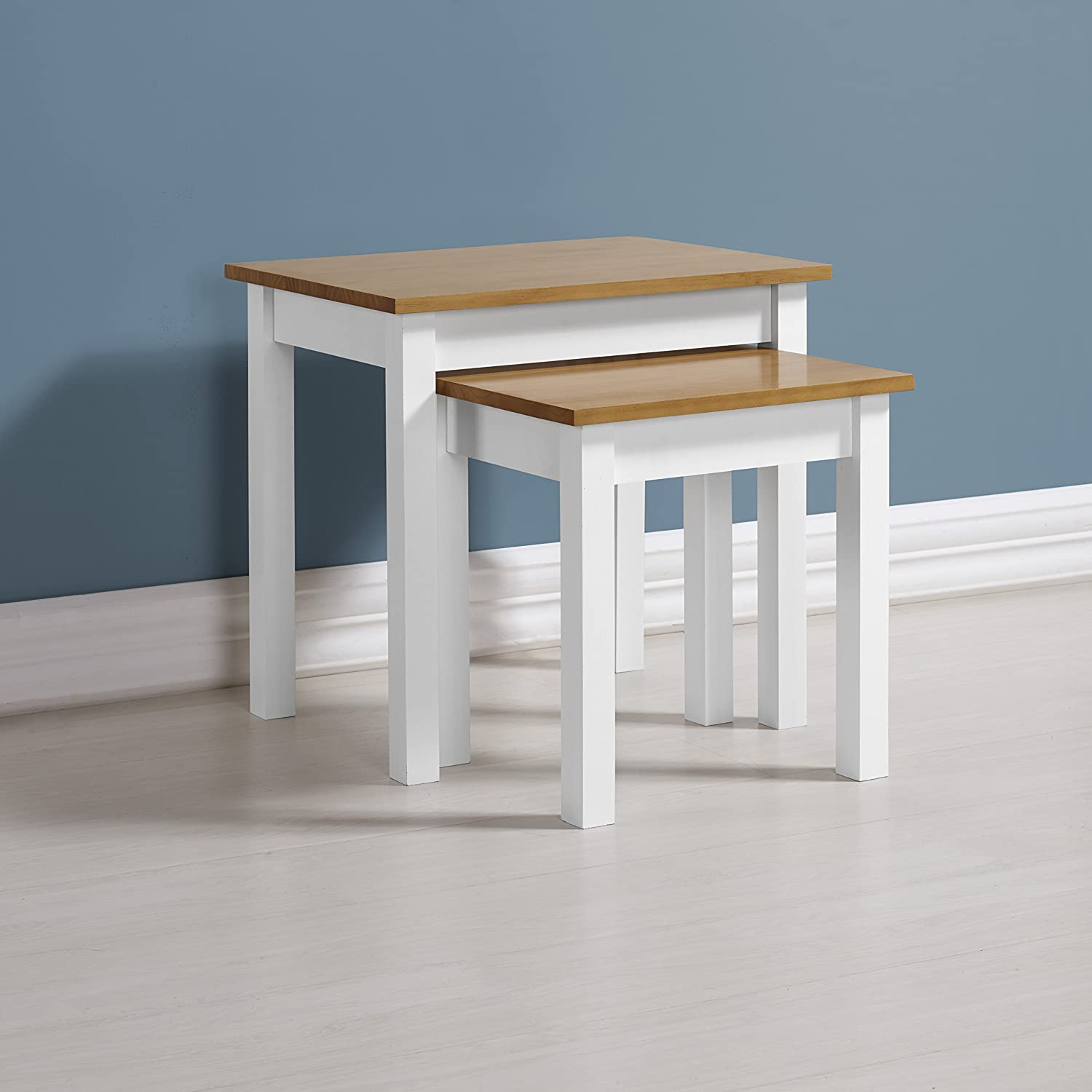 Home Essentials Ludlow Nest of Tables in White/Oak Home Essentials Inc