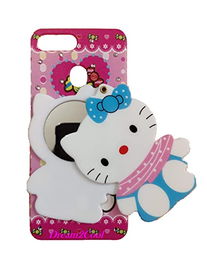 Aarnik Baby Doll Cute Lovely Mirror Soft Kitty Back Case Cover Oppo F9 Pro  - Multi Colour
