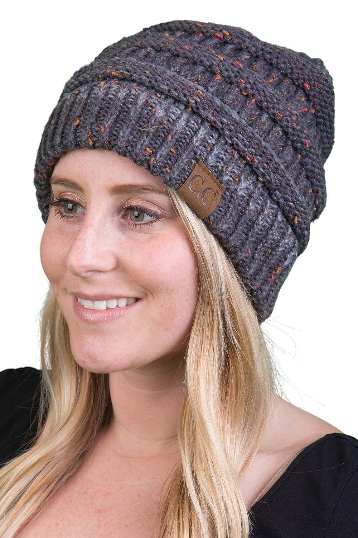 Funky Junque CC Confetti Knit Beanie - Thick Soft Warm Winter Hat - Unisex  1 Dove Grey ... a12d4c2e9372