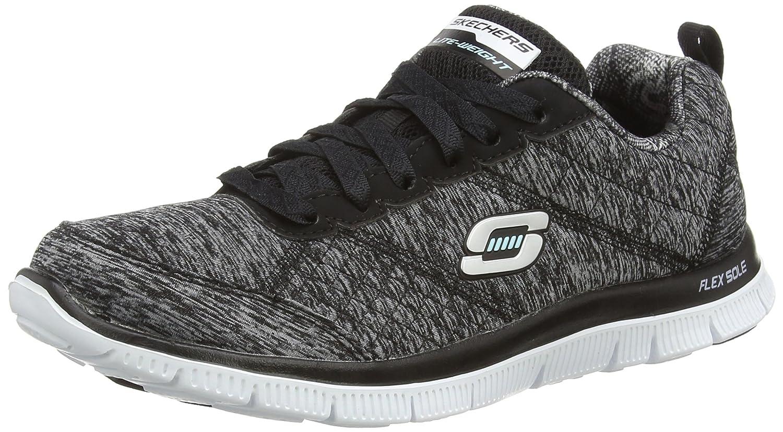 Skechers Sport Women's Pretty Please Flex Appeal Fashion Sneaker B00T7BHVXC 8.5 B(M) US|Black/Grey