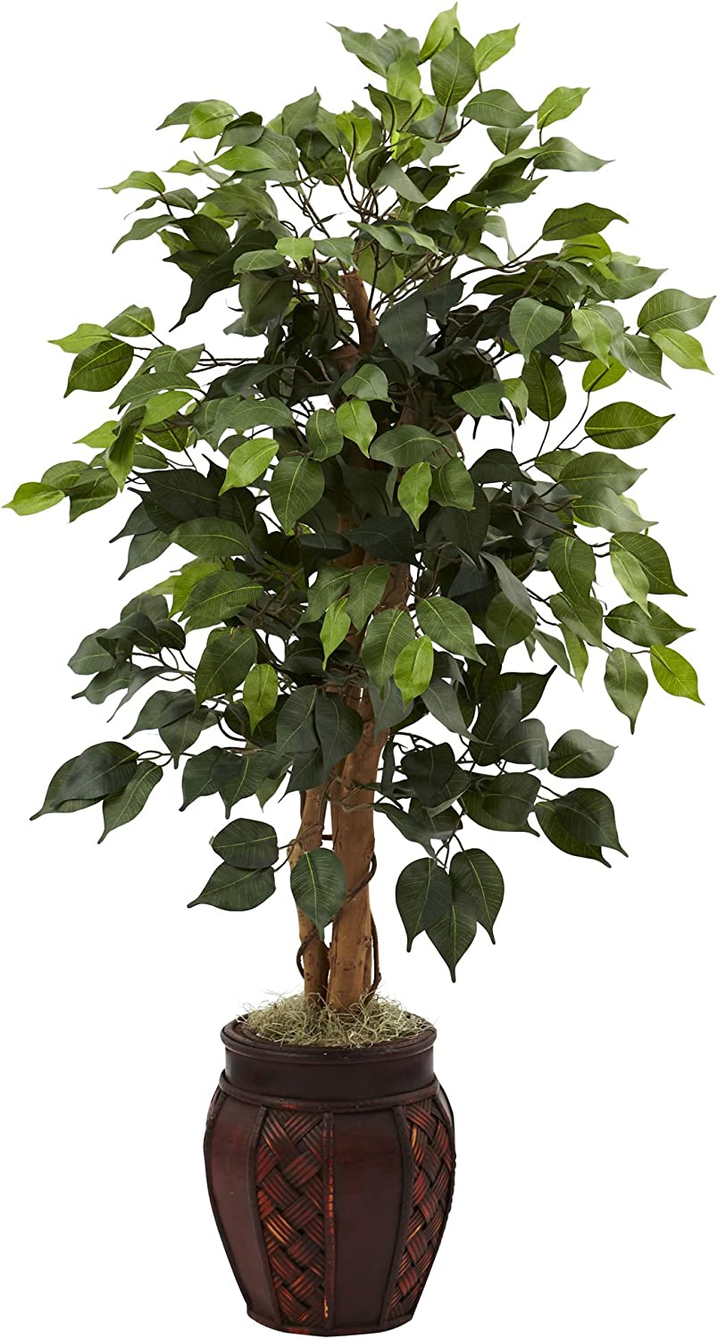 Nearly Natural 5929 44in. Ficus Tree with Decorative Planter,Green
