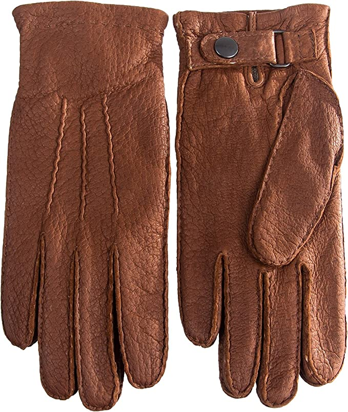 Peccary Leather Gloves with Rabbit fur lining for men/'s Winter Gloves