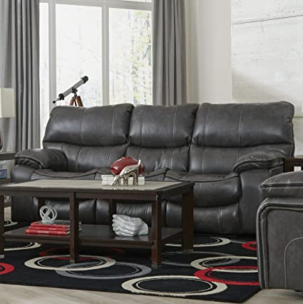 Amazon.com: Lienz Camden Steel Color Faux Leather Lay-Flat Reclining ...